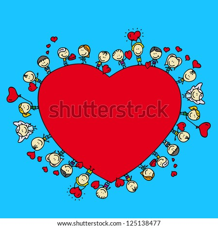 Valentine card frame background of happy doodle children with love hearts