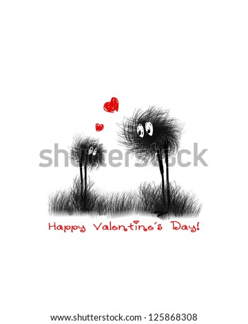 Valentine card. Hand drawn. Vector illustration. eps8 - stock vector