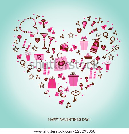 Valentine card. Heart of the icons - stock vector