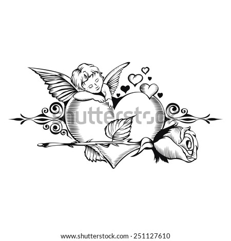 Valentine card. Image of Cupid with heart and one rose. - stock vector