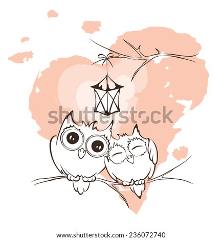 Valentine card - love owls - stock vector