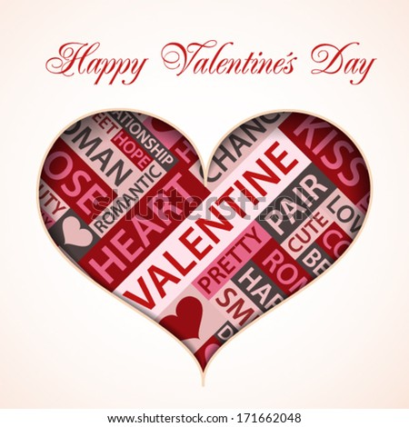 Valentine card made form words which relate with love - stock vector