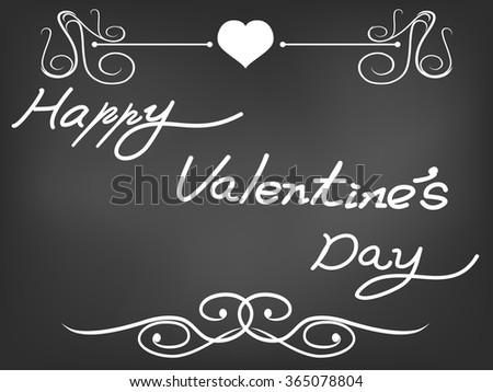 Valentine card on blackboard - stock vector