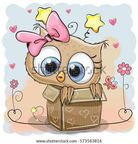 Valentine card cute owl girl box 573583816 valentine card with a cute owl girl in a box voltagebd Image collections