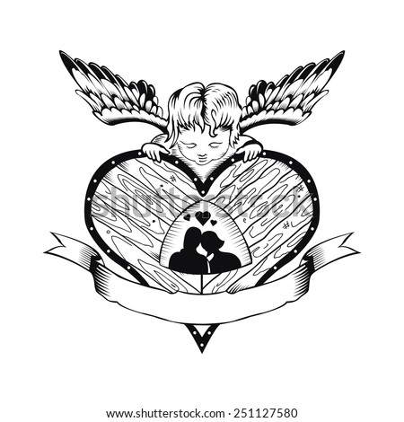 Valentine card with a picture of the heart and Cupid. Black and white style. - stock vector