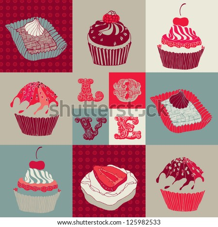 valentine card with cupcakes.