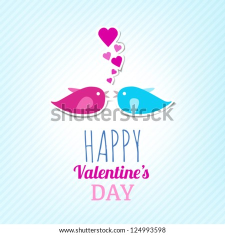 Valentine Card With Cute Birds