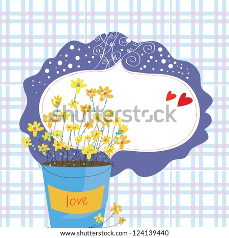 Valentine card with flowers and frame on the plaid pattern - stock vector