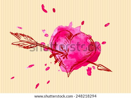 Valentine card with heart overshoot. Vector illustration - stock vector