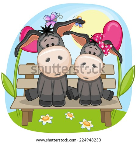 Valentine card with Lovers Donkeys  - stock vector