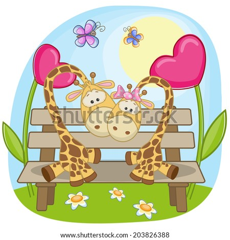 Valentine card with Lovers Giraffe