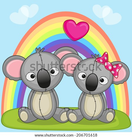 Valentine card with Lovers Koalas