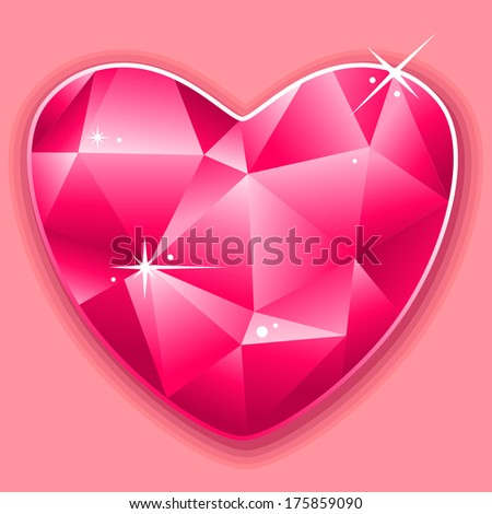 Valentine card with pink diamond heart - stock vector