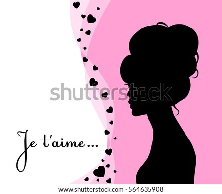 valentine card with silhouette of woman
