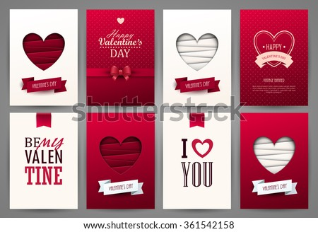 Valentine cards set. Vector illustration.