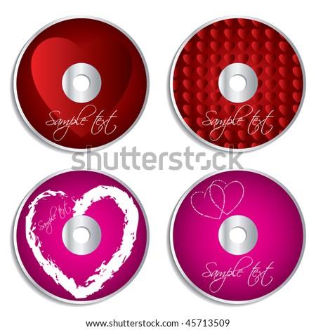 Valentine cd & dvd labels - stock vector