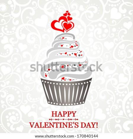 Valentine cupcake. Vector Illustration - stock vector