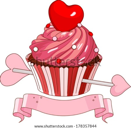 Valentine cupcake with heart on the top - stock vector