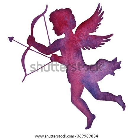 Valentine cupid, watercolor silhouette vector illustration - stock vector
