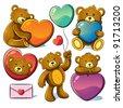 Valentine Cute Bear - stock vector