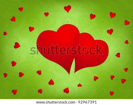 Valentine day background with two red hearts