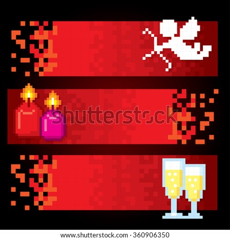 Valentine day banner set. Pixel art. Old school computer graphic style. - stock vector