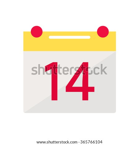 Valentine day calendar icon. Calendar isolated icon on white background. February calendar. Holiday date icon. February 14. Flat style vector illustration.  - stock vector