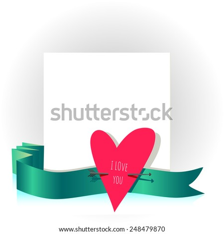 Valentine day card, love letter vector illustration. Heart symbol. - stock vector