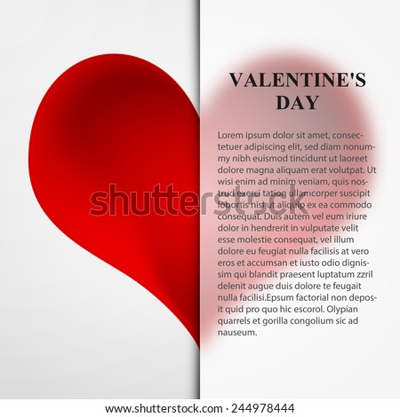 Valentine day card paper cutting design, papercraft, excellent vector illustration, EPS 10 - stock vector