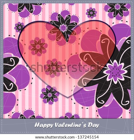 Valentine day card with floral background