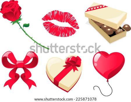 Valentine day cartoon icon presents - stock vector