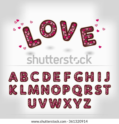 Valentine day dark chocolate with candy heart  alphabet  3d letters font. Comic 3D font. Cartoon  3D font. Funny font 3D letters. Kids font letters. Decoration font. Bright 3d font. Tasty 3d font.  - stock vector