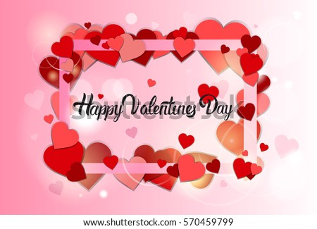 Valentine Day Gift Card Holiday Love Stock Vector 570459799