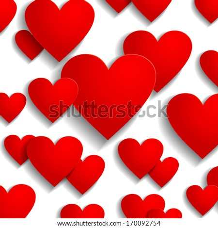 Valentine day greeting background with red heart icons