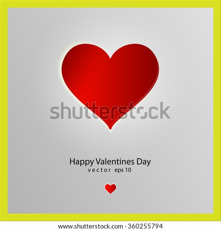 Valentine day greeting card. Red heart on a gray metalic background - stock vector