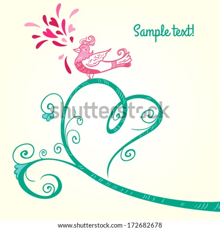 Valentine day heart tree with birds. Romantic borders and design elements.