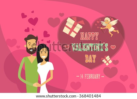 Valentine Day Holiday Couple Embrace Love Heart Shape Greeting Card Flat Vector Illustration - stock vector