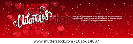 Valentine Day Horizontal Banner With Handwritten Lettering On Red Glittering Hearts Background Template Vector Illustration