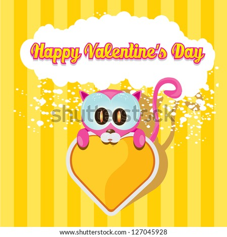 valentine day love beautiful card. vector cute cartoon cat holding heart. love concept illustration. vector kids background.
