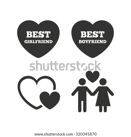 Valentine day love icons. Best girlfriend and boyfriend symbol. Couple lovers sign. Flat icons on white. Vector - stock vector