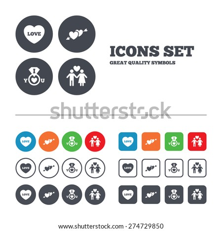 Valentine day love icons. I love you ring symbol. Couple lovers sign. Web buttons set. Circles and squares templates. Vector