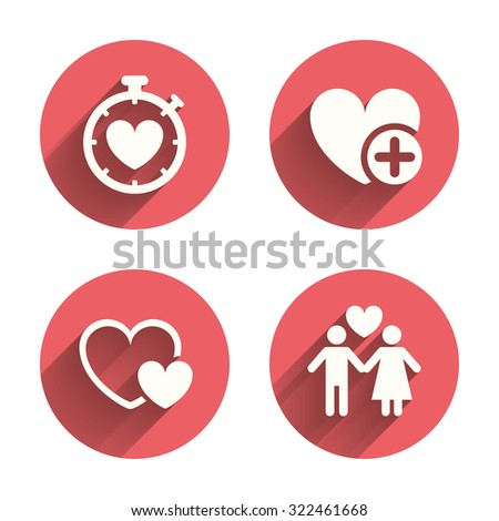 Valentine day love icons. Love heart timer symbol. Couple lovers sign. Add new love relationship. Pink circles flat buttons with shadow. Vector - stock vector
