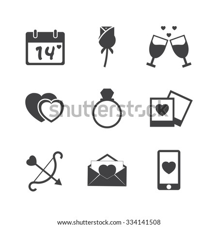 Valentine day love icons set. - stock vector