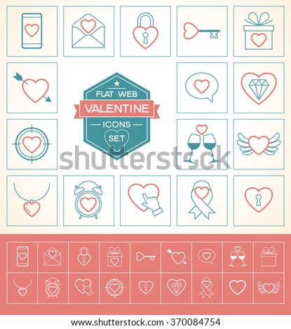 Valentine day love icons set. Thin line style, flat design  - stock vector
