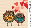 Valentine day lovely owls greeting card. Vector illustration layered for easy manipulation and custom coloring. - stock photo