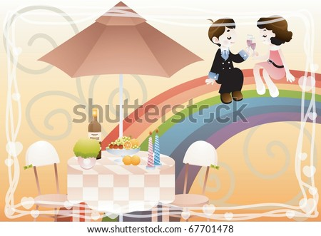 Valentine day Lovers - sitting an attractive woman and young man toast on the beautiful colorful rainbow on happy anniversary on background of white line frame and swirl pattern : vector illustration - stock vector