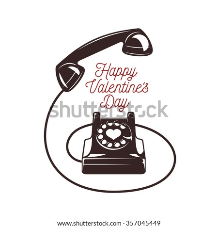 Valentine day minimalistic style card vintage stock vector 357045449 valentine day minimalistic style card vintage phone with greeting text happy valentines day m4hsunfo