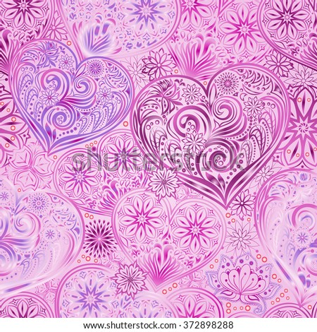 Valentine Day seamless background with hearts and flowers. Hand drawing floral motif vintage vector EPS-8 texture. The ability to change colors without loss of seamlessness.