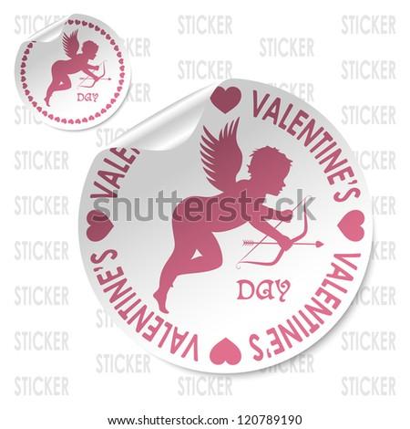 valentine day sticker - stock vector
