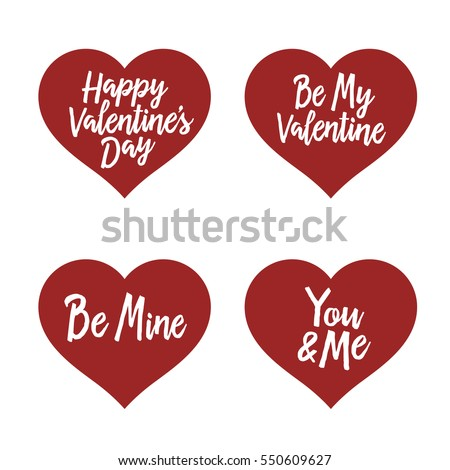 Valentine Day Typography Badges Set. All Lovers Holiday Quotes. Be My  Valentine. Be